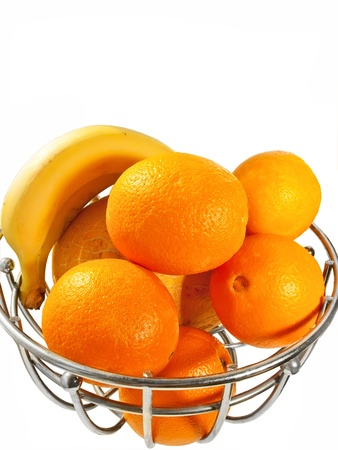 Metal  basket with orange fruits isolated on a white background Stock Photo - 14731914