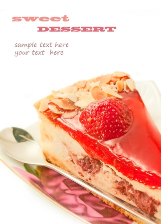 English style Cheesecake with strawberry isolated on white  Stock Photo - 14954835