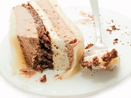 slice of chocolat mousse cake on white plate photo