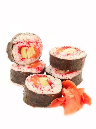rolls with shrimp, salmon and red masago isolated on white photo