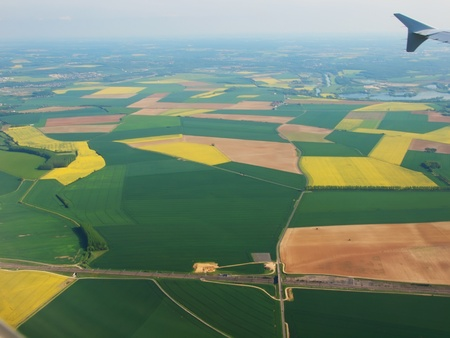 spainish: Spainish meadows as seen through window of an airplane