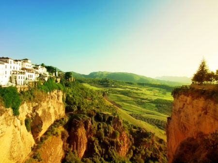ronda: Panoramic view from New bridge in Ronda, one of the famous white place in Andalucia, Spain  Stock Photo