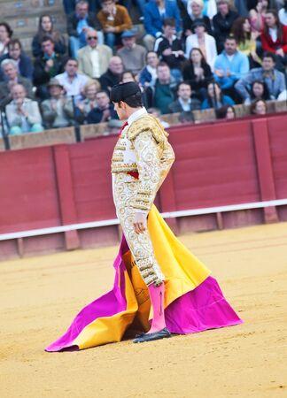 SEVILLA -MAY 20: Novilladas in Plaza de Toros de Sevilla. Novillero: Emilio Huertas. May 20, 2012 in Sevilla (Spain)  Stock Photo - 16943152