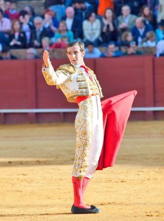 SEVILLA -MAY 20: Novilladas in Plaza de Toros de Sevilla. Novillero: Emilio Huertas. May 20, 2012 in Sevilla (Spain)  Stock Photo - 16972850