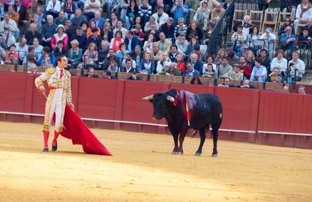 SEVILLA -MAY 20: Novilladas in Plaza de Toros de Sevilla. Novillero: Emilio Huertas. May 20, 2012 in Sevilla (Spain)