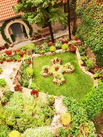 thessalia: Garden in Holy Monastery Roussano, Meteora, Greece Thessaly