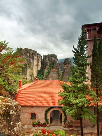thessalia: The yard in Holy Monastery Roussano, Meteora, Greece Thessaly