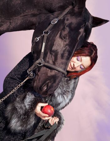art  portrait nice women with black horse photo