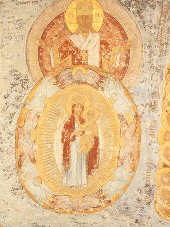 Antique ceiling  fresco with saints-  monastery (Russia, Tikhvin)