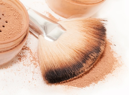 Face powder and brush. macro Stock Photo