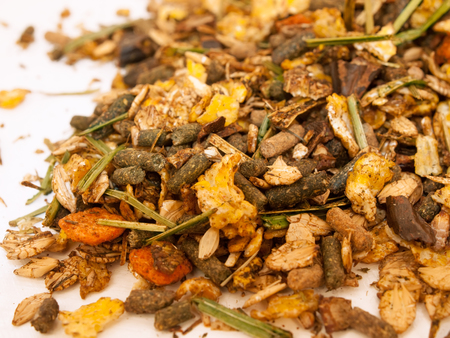 basic care: basic muesli  with herbs background for horse