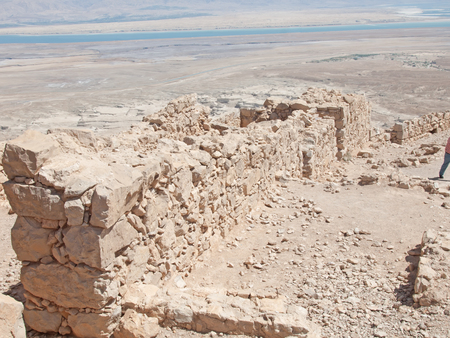 view of Dead Sea from fortress Masada, Israel photo