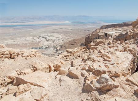 masada: view of Dead Sea from fortress Masada, Israel