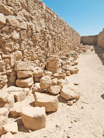 masada: Ruins of Herods castle in fortress Masada, Israel Stock Photo