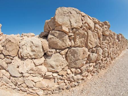 masada:  Wall of Herods castle in fortress Masada, Israel Stock Photo