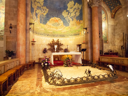 agony: Interior of The Church of All Nations or Basilica of the Agony, Roman Catholic church near the Garden of Gethsemane at the Mount of Olives in Jerusalem, Israel