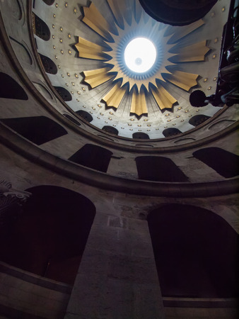 The spectacular Dome of the Rotunda just above the Edicule at the Church of the Holy Sepulchre in the old city of Jerusalem, Israel.
