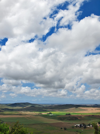 Aerial view of a green rural area under blue sky  Spain, Andalusia photo