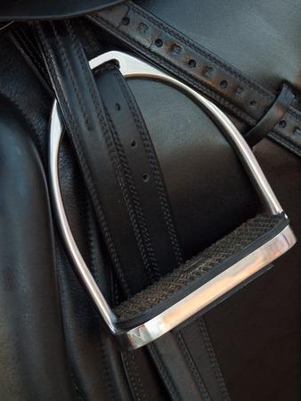 stirrup at dressage saddle. close up