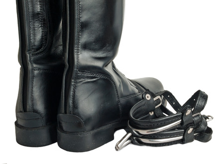 accessories horse: horse riding   boots and spurs isolated on white. close up Stock Photo