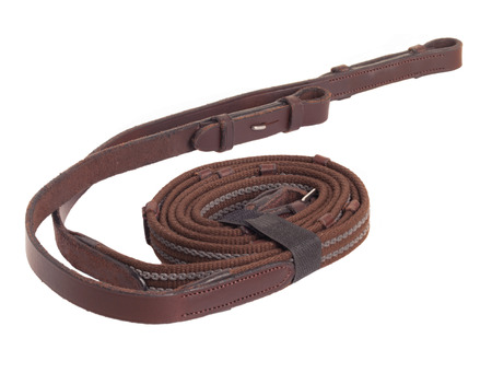 rein: Brown rubber rein - part of horse bridle isolated on white