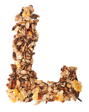 l nutrient: Horse sportive muesli as letter O. over white Stock Photo