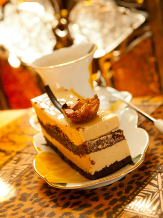 Vienna cake with almond and caramel photo