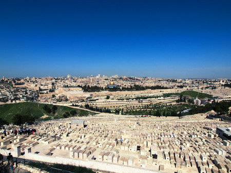 mount of olives: Panoramic view form the Mount of Olives on the old city of Jerusalem, Israel. Stock Photo
