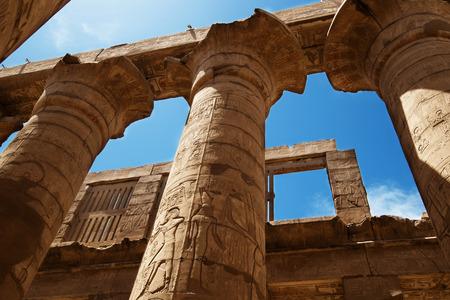 Karnak 사원의 위대한 Hypostyle 홀. 룩소르, 이집트. 스톡 콘텐츠
