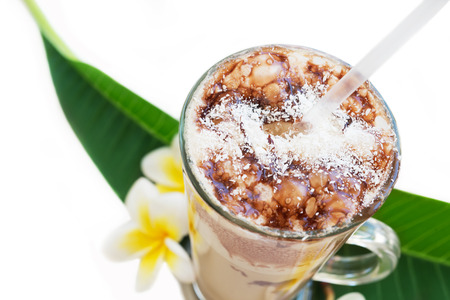 frappe: Frappe Iced Coffee Drink with plumeria