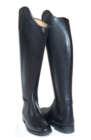 accessories horse: new riding dressage boots isolated on white