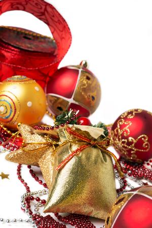 against white: Christmas decoration background against white