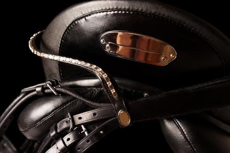 saddle: Black leather premium dressage saddle . isolated
