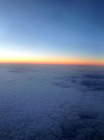 view sunset from airplane background Stock Photo