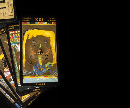 SEPTEMBER 05, 2017 - SAINT PETERBURG, RUSSIA: tarot Nefertary card at black background. studio shot Editorial