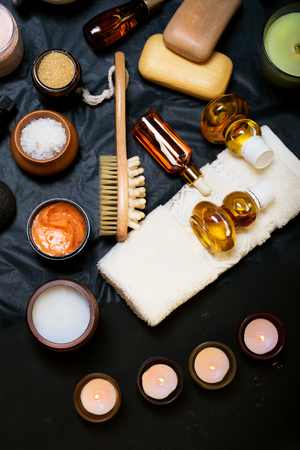 luxury Set of spa products with accessoires on black background Stockfoto
