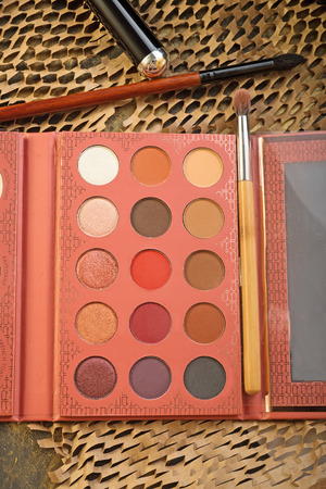 fashion set of new cosmetics palette. close up