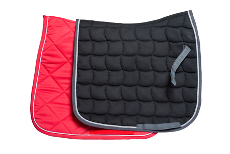 dressage red and black saddle pads  isolated on white
