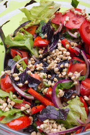 vegetarian fresh salad with vegetables, herbs and  sprouts  of buckwheat.  healthy raw eating food. macro shor