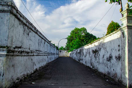 creepy hallway on south square at yogyakarta, hallway covered by old wall