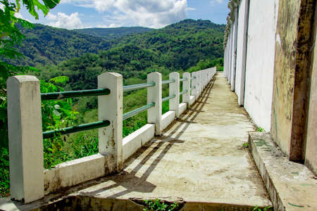 bridge in hills with walls next of Tomb of the Imogiri Kings. landscape view of bantul from Tomb of the Imogiri Kings