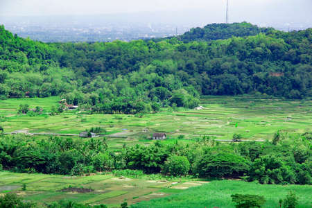 landscape view of bantul from Tomb of the Imogiri Kings. beautiful hill and valley on bantul Stock fotó