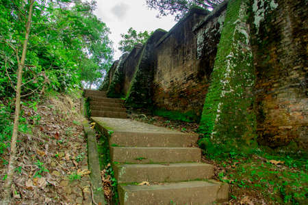 stairs covered by grass in behind Tomb of the Imogiri Kings on yogyakarta Stock fotó