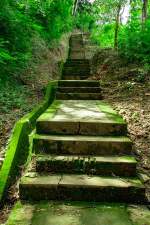 stairs in Tomb of the Imogiri Kings on yogyakarta. old stairs on jungle covered by moss Stock fotó
