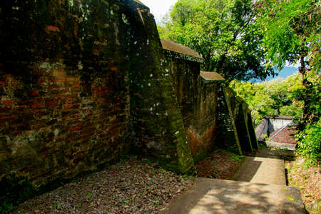 old landscape vie of bantul from stairs covered by grass in behind Tomb of the Imogiri Kings on yogyakartastairs and wall in behind Tomb of the Imogiri Kings on yogyakarta