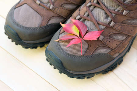 Socks of men's warm winter brown boots on a wooden floor. Socks of brown boots with a red autumn leaf are visible on a light wooden floor. Warm shoes in autumn concept. The arrival of autumn, camping