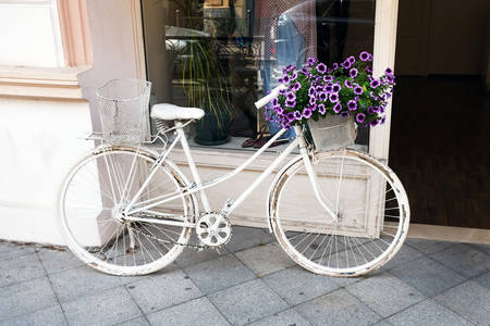the old bike is painted white and has a basket with gray flowers on it. Bicycle and petunia bushes on it as a decoration of the exterior of the cafe. Standard-Bild