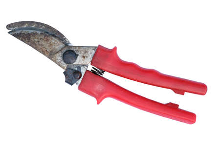 Garden secateurs with red plastic handles on a white background. Metal pruner for pruning trees isolate. Garden tools. 写真素材