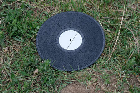 Black vinyl record on the grass. Old musical record covered with raindrops. Old vinyl record thrown into the trash. Archivio Fotografico