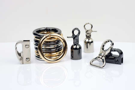 Metal accessories for making bags. Carabiner metal colors gold, silver and black silver. set of Side carabiners for handbags. Carabiners for a round belt of a woman's bag.